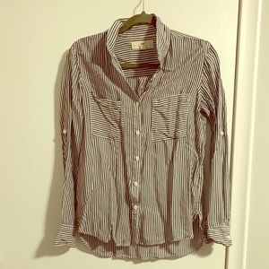 Striped Button Up Shirt with Adjustable Sleeves